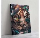 Tableau déco de tigre avec des fleurs par notre artiste Artwall and Co