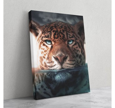Jaguar animal wall art canvas in modern style for wild wall decoration