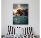 Tableau sur toile design d'un ours en train de pécher pour une déco murale design