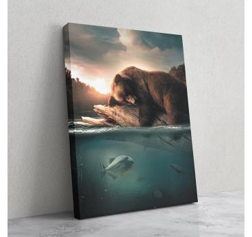 Tableau décoratif d'un ours en train de chasser par notre artiste pour une décoration murale tendance