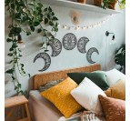 Metal wall decoration of the several phases of the moon for a designer headboard