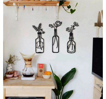 Metal art wall decoration of vases with flowers for a modern and contemporary interior