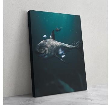 Tableau bleu design de requin dans l'eau pour créer une décoration murale moderne et animale