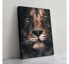 Tableau de lion et guépard dans un mélange de portrait pour une décoration murale design