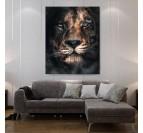 Magnifique portrait de lion et guépard en tableau moderne pour votre décoration murale design