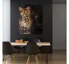Dining room wall decoration with our leopard art canvas in an animal and trendy style