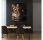 Décoration murale de salle à manger avec notre tableau de léopard dans un style animal et tendance