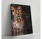 Tableau animal d'un léopard avec un regard unique pour une touche nature dans votre décoration murale
