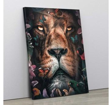 Touche florale et sauvage pour ce tableau de lion exotique afin d'apporter une touche contemporaine dans votre intérieur