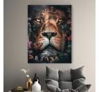 Tableau lion florale avec plusieurs couleurs pour votre décoration murale tendance
