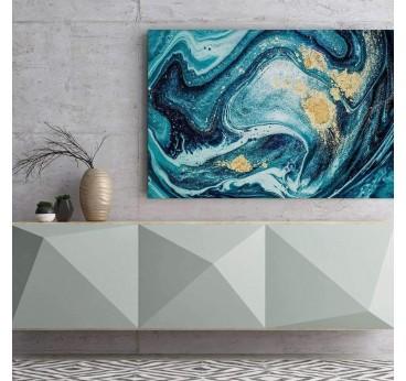 Tableau abstrait de marbre au couleur océan dans une décoration murale de salon