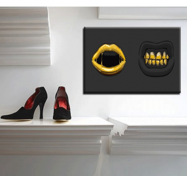Black and Gold Mouths Tableau Contemporain
