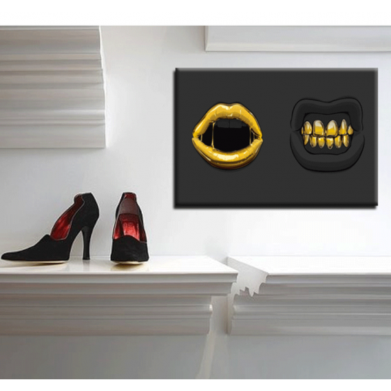 Black and Gold Mouths Contemporary Art Print