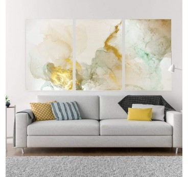 Abstract wall canvas in several panels with yellow smoke for your wall decoration