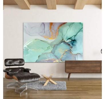 Tableau abstrait avec du marbre couleur vert en décoration murale salon