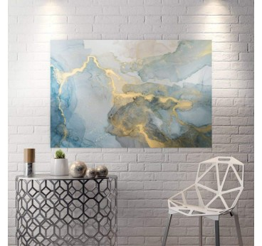 Abstract wall canvas in blue and yellow in an original living room wall decoration