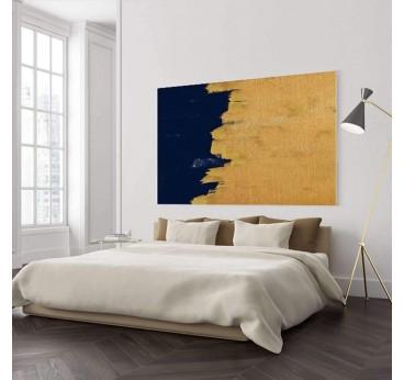 Tableau abstrait en doré et bleu pour une décoration murale tendance