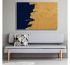 Décoration murale de salon avec notre tableau abstrait navy or