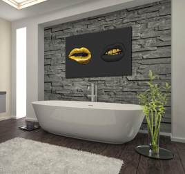 Black and Gold Lips Tableau Moderne