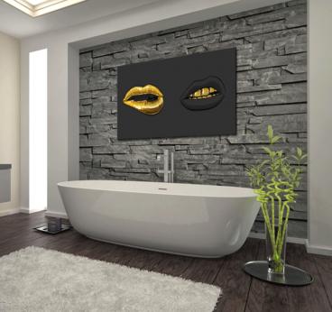 Black and Gold Lips Tableau Moderne