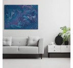 Abstract canvas print soft ocean with a gradient of blue in printed canvas mural