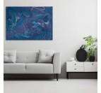 Tableau abstrait océan doux avec un dégradé de bleu en toile imprimée murale