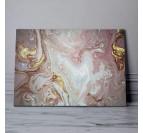 Tableau abstrait marbre rose avec des touches blanches et dorées pour une déco murale originale
