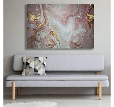 Living room wall decoration with our abstract pink marble canvas print