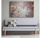 Décoration murale de salon avec notre tableau abstrait marbre rose