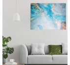 Living room wall decoration with our sky texture printed canvas in blue with golden touches