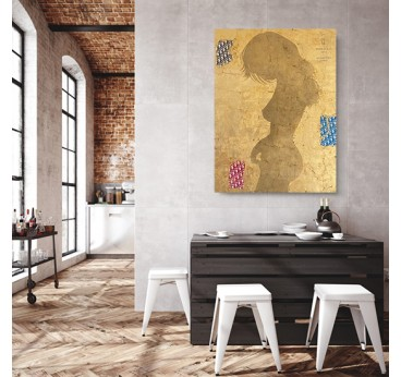 Contemporary gold canvas print by our artist Gab for an original wall decoration