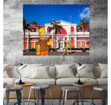 Modern canvas of the Simpsons by our contemporary artist Gab for an original wall decoration