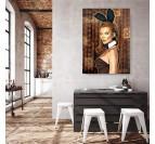 Tableau contemporain et street art de Kate Moss par notre artiste Gab dans une décoration murale moderne et design