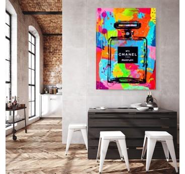 Channel 5 bottle street art canvas in a loft wall decoration