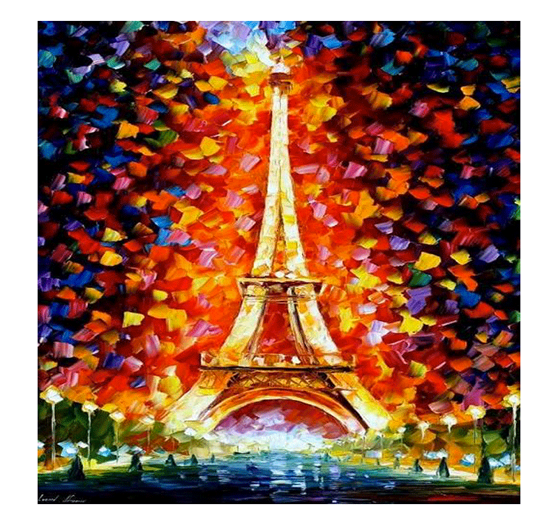 Colorful eiffel tower tableau contemporain for Tableau art contemporain