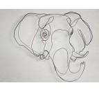Décoration murale éco responsable de trophée d'éléphant en noir pour votre intérieur
