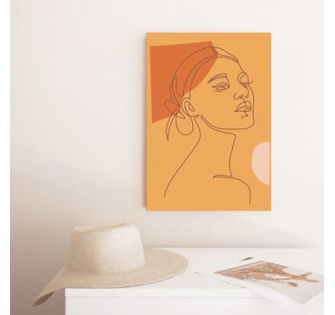 Line art canvas prints of a woman in a contemporary portrait for a design wall decoration