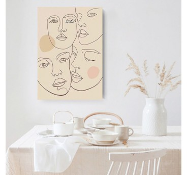 Line art canvas print of different abstract faces for a modern wall decoration