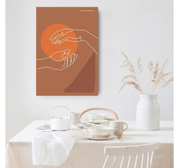 Line art canvas print of hands in a boho style for interior wall decoration