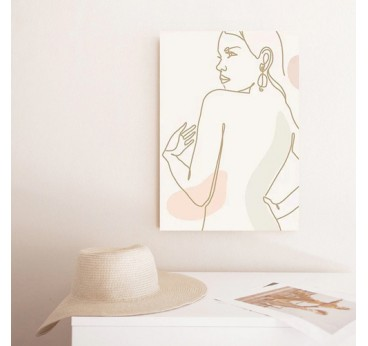 Line art wall canvas print of a woman in drawing for a modern wall decoration