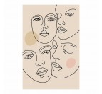 Line art faces wall canvas print with different colors for your interior