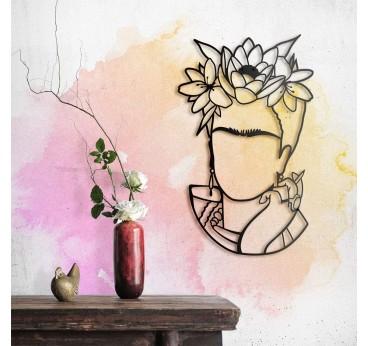 Art métallique design de Frida Kahlo en portrait pour votre décoration murale