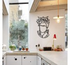 Sculpture métallique en décoration murale de cuisine du portrait de Frida Kahlo