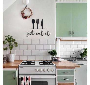 Décoration murale métal design just eat it pour décorer les murs de votre cuisine