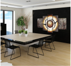 Tableau abstrait ethnique Abstract Power Of Hearth dans une décoration murale moderne