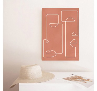 Abstract figure canvas print with a line art style for a boho wall decoration