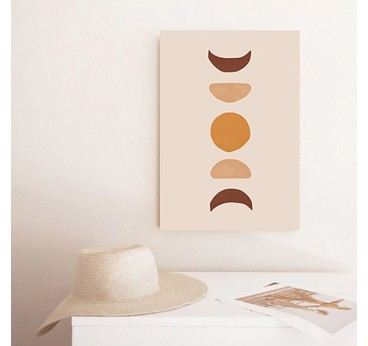 Lunar boho canvas for interior with a colorful version