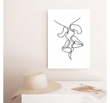 Kiss line art wall canvas print for a contemporary interior