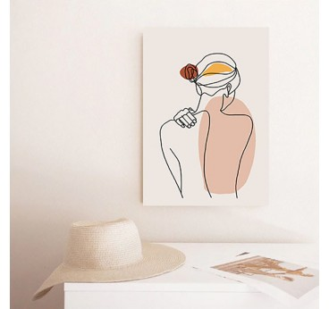 Line art tenderness wall canvas print with a woman to create a contemporary wall decoration