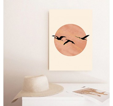 Pink flamingo flight in a line art canvas print for a contemporary wall decoration